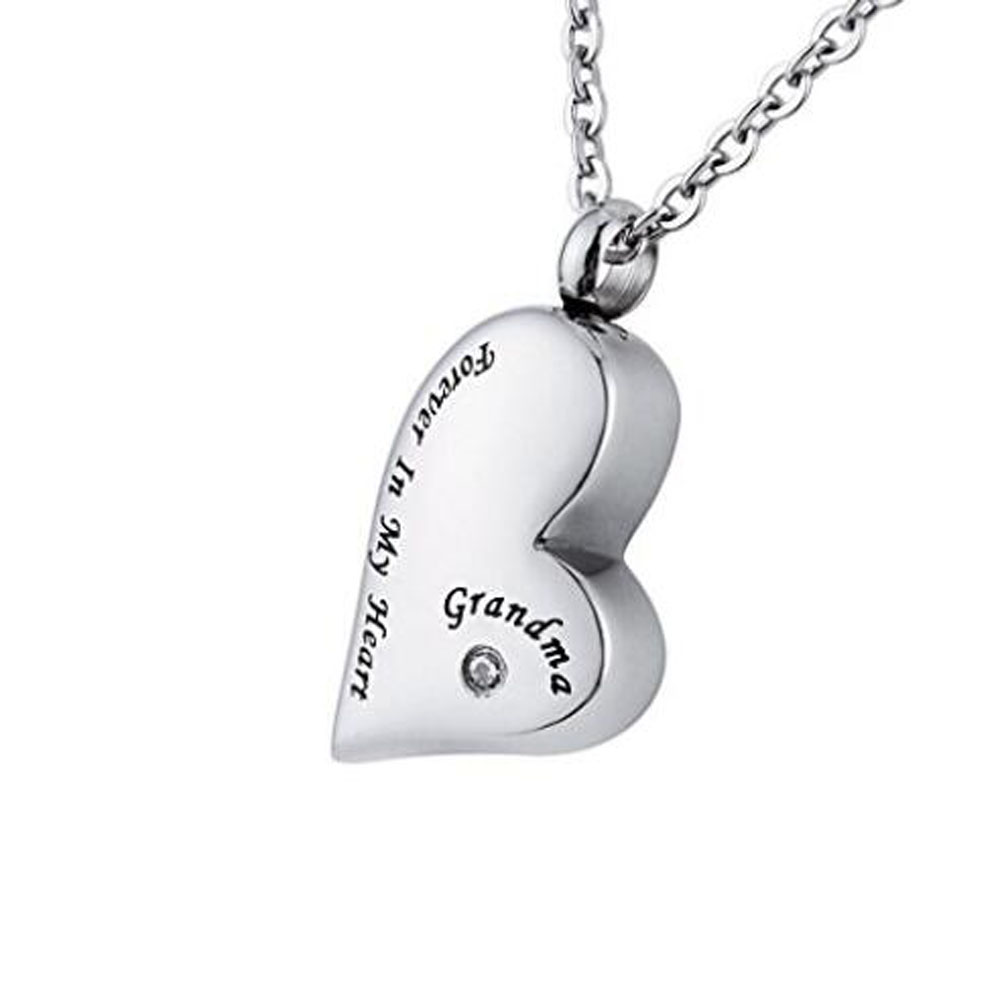 Heart shaped high quality stainless steel inscribed cremation urn necklace