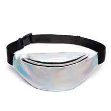 Блестящая Лазерная поясная сумка, женская серебряная Лазерная поясная сумка, дорожная блестящая поясная сумка, модная розовая кожаная голо...(Китай)