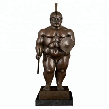 ArtsHom DS-497 Abstract Bronze Famous Statue Botero reproduction sculpture bronze fat warrior soldier Figurines for collectible
