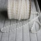 Wholesale 25M/Roll Sunflower Shape Plastic Flat Back Pearl White Beaded Sewing Trim Chains / Double String