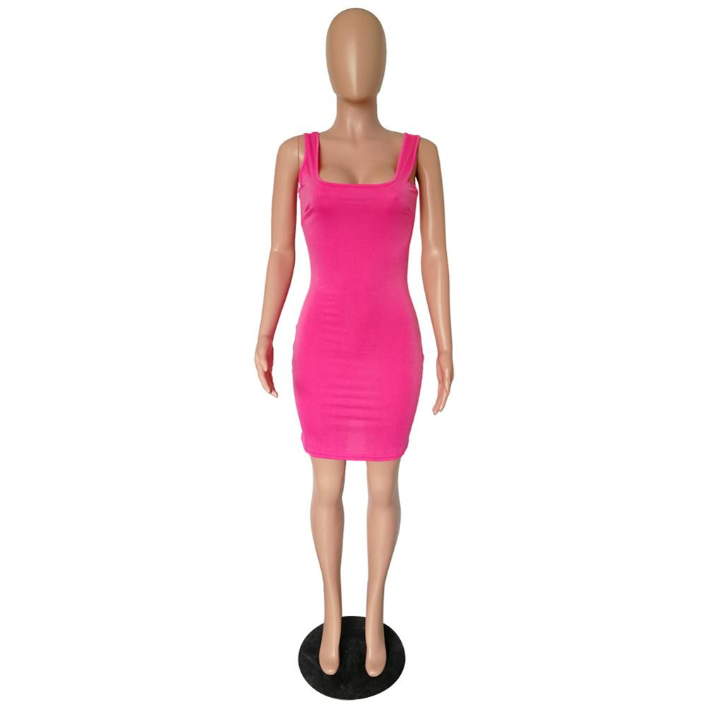 Casual Basic Sleeveless Soild Color Bodycon Mini Club Dress For Woman