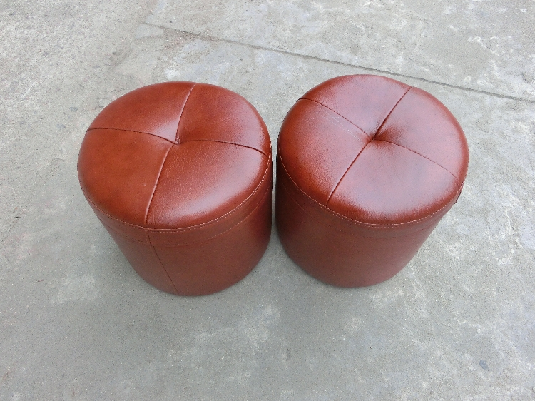 Small Leather Round Leather Stool Stool Vanity Stool To