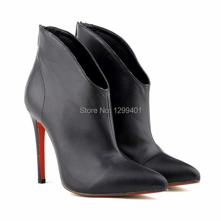 new style a77f2 799db Women Autumn Winter Pointed Toe Faux Leather Red Bottom sole ...