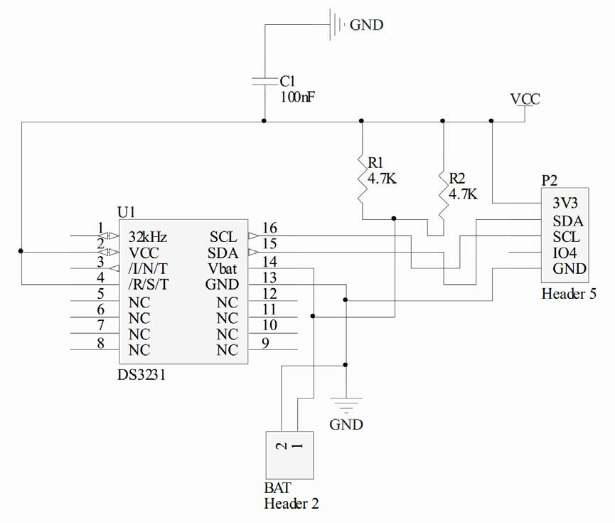 Ds3231 real time clock module schematic
