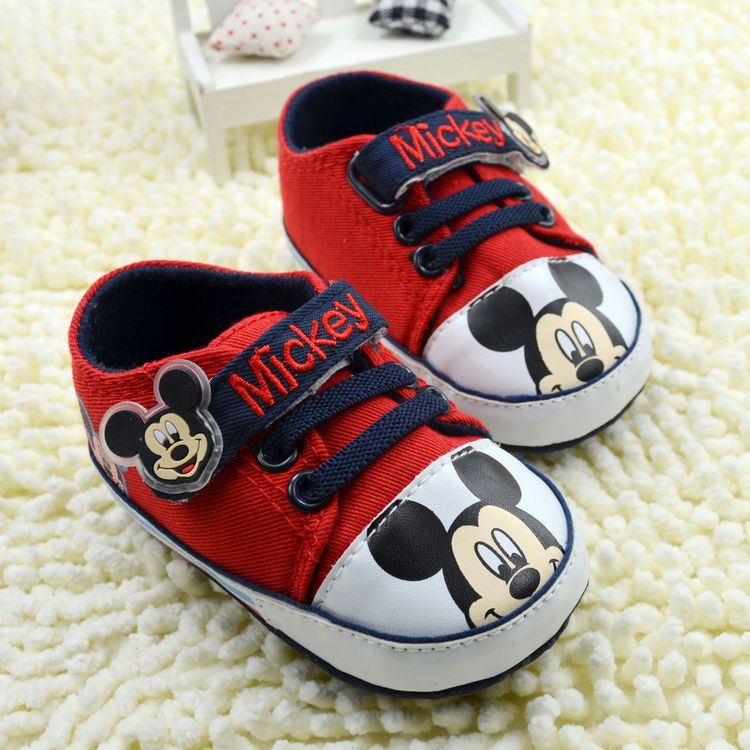 Free shipping Retail baby shoes velcro mickey mouse baby prewalker shoes kids shoes