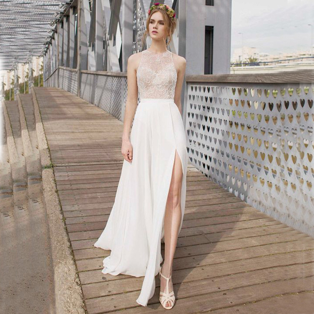 White Chiffon Front Silt Casual Style Backless Halter Top: Halter Top Beach Wedding Dresses Reviews