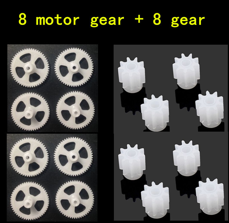 8pcs Motor Gear + 8pcs big gear For SYMA X5C/X5 X5SC RC Quadcopter Helicopter Drone Accessories Spare Parts