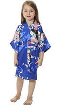 Детский Атласный халат RB009 с павлином, детское кимоно, халат подружки невесты, платье для девочки с цветами, Шелковый детский халат, ночная р...(Китай)