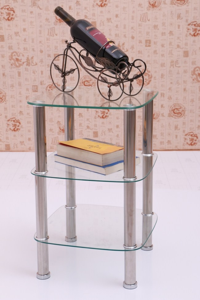 Cheap small coffee table stylish simplicity sofa side a - Glass corner shelf for living room ...