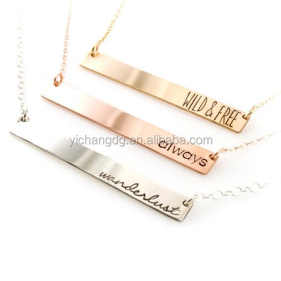 Изготовленное на заказ ожерелье из стерлингового серебра, изготовленное на заказ ожерелье с гравировкой имени логотипа