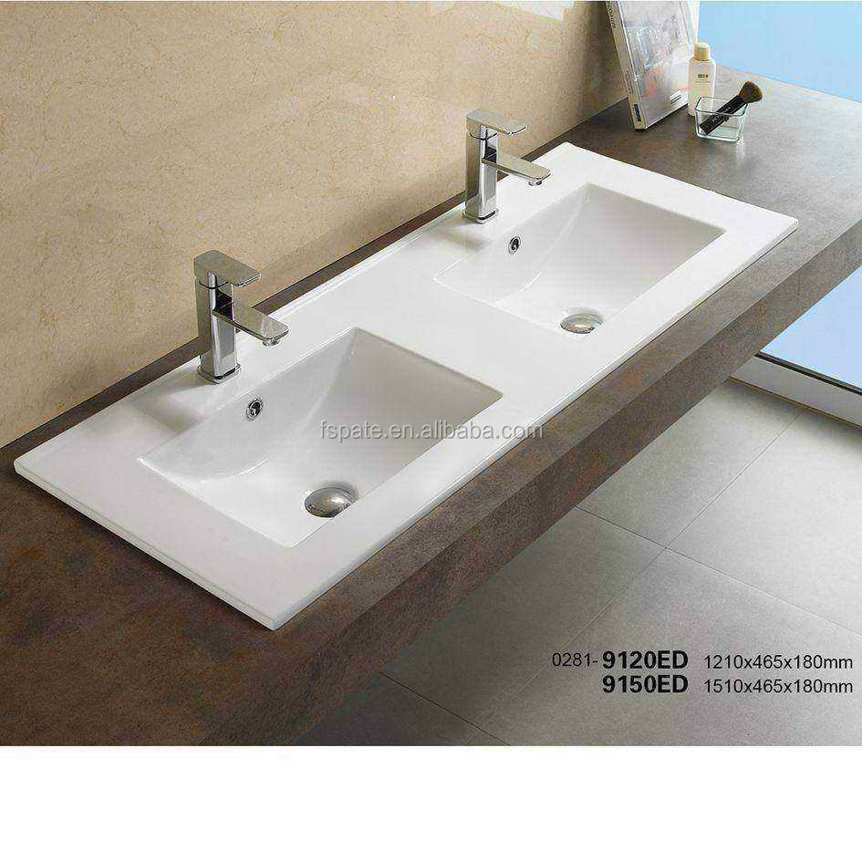 Luxury Bathroom Vanity Top Double Wash Basin Ceramic Above Counter Wash Basin Sink View Double Wash Basin Pate Product Details From Foshan Pate Sanitary Ware Co Ltd On Alibaba Com