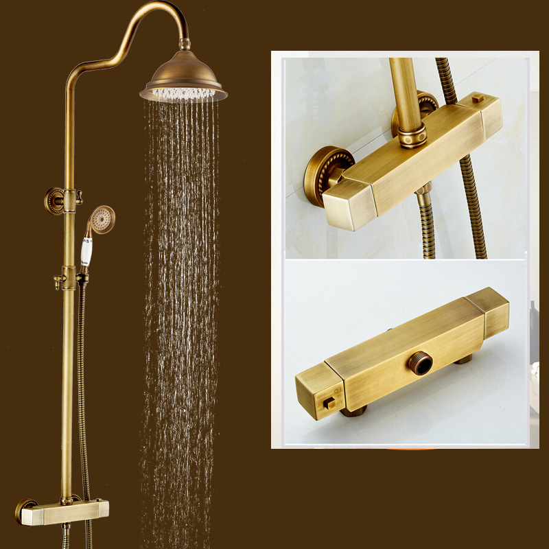 Buy Brass Thermostatic Mixing Valve Shower Faucet: Antique Brass Thermostatic Mxer Valve Shower Set Dual