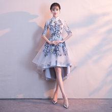 Женское винтажное платье It's YiiYa, белое платье с высоким воротником и короткими рукавами на молнии, вечерние платья с вышивкой, MX002(Китай)