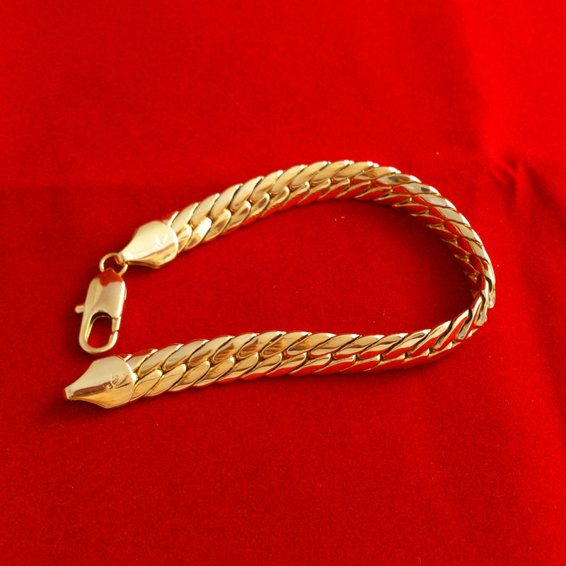229e14717f3c5 Wholesale-High quality Fashion 24K Gold bracelet Men Jewelry yellow gold  thick bracelets Bangles for women accessories Free Shipping LC026