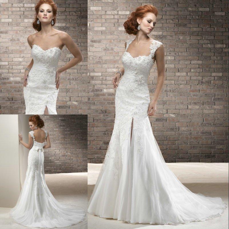 Cap Sleeve Wedding Dresses: Charm Fashion 2015 Fabulous Appliqued Sweetheart Cap