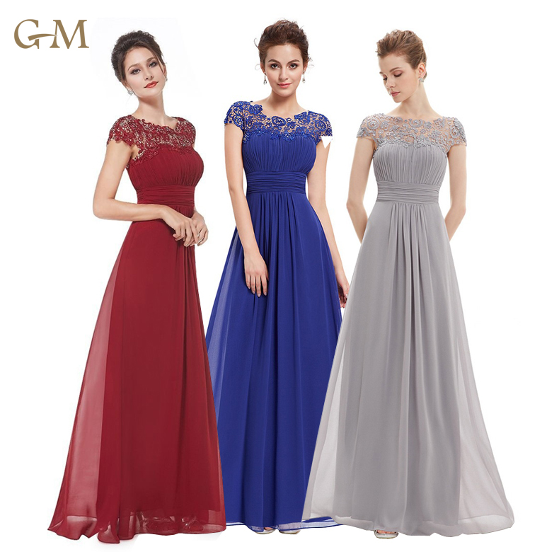 Women Embroidered Chiffon Bridesmaid Dress Long formal wedding Evening Prom Gown