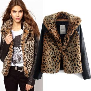 Европейский и американский бренд женская зимние пальто персонализированные лоскутное дизайн кожа рукав куртки леди леопард мех верхняя одежда