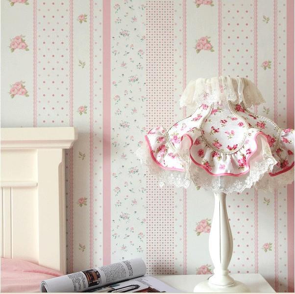 pink floral wallpaper flower pvc wall paper for child bedroom vinyl wallpapers kids girls. Black Bedroom Furniture Sets. Home Design Ideas
