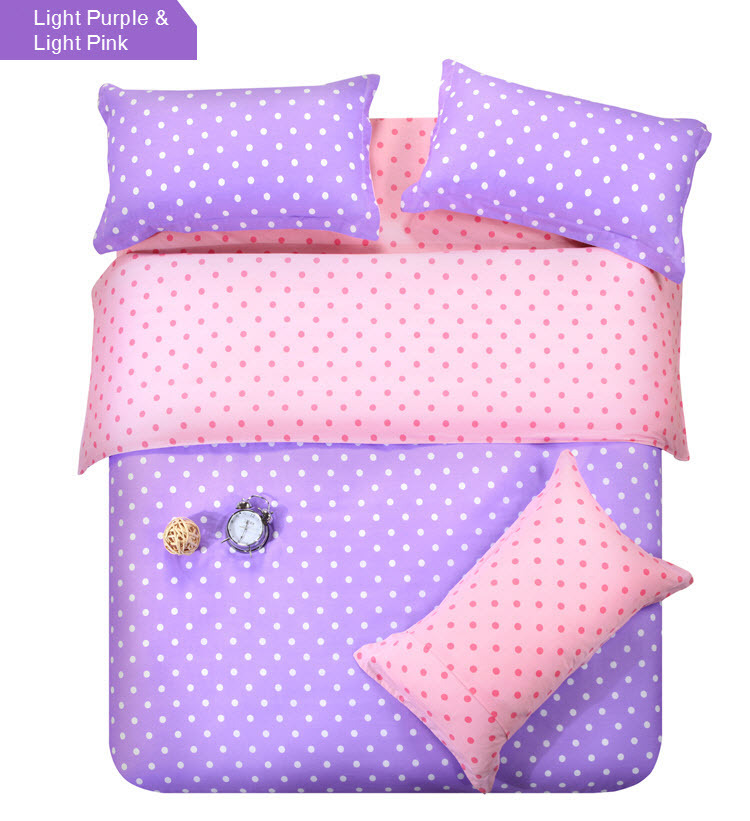 double colors light purple and light pink patchwork polka dot cotton comforter set for king. Black Bedroom Furniture Sets. Home Design Ideas