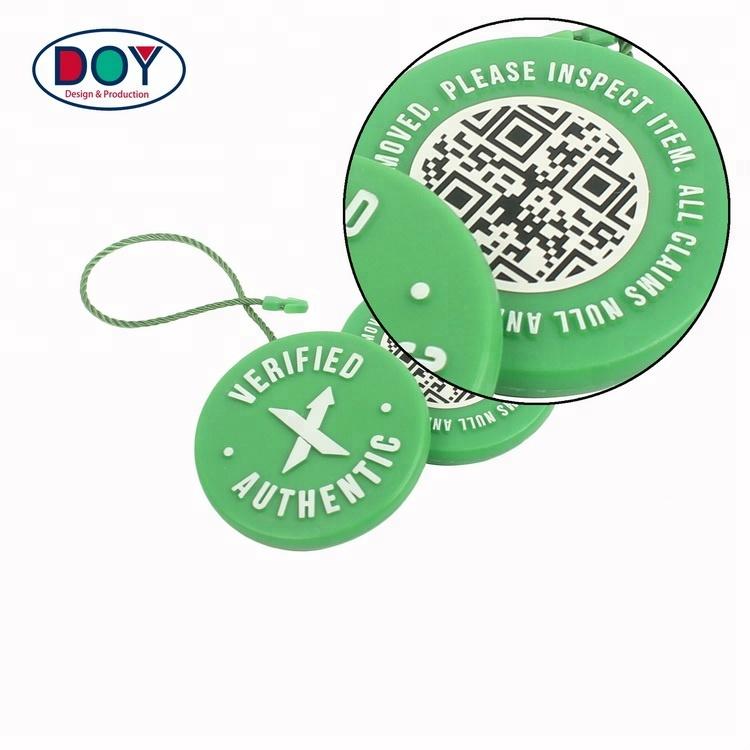 Garment Seal Tags Maker Custom 3D Embossed Brand Name Logo Plastic Hang Tags String Locks for Shoes