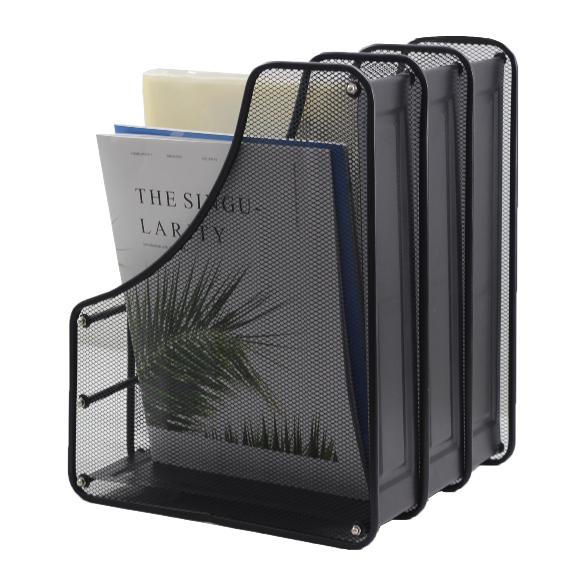 wideny wholesale office school desktop 3 compantents file racks magazie holder a 4 paper iron mesh metal wire magazine rack