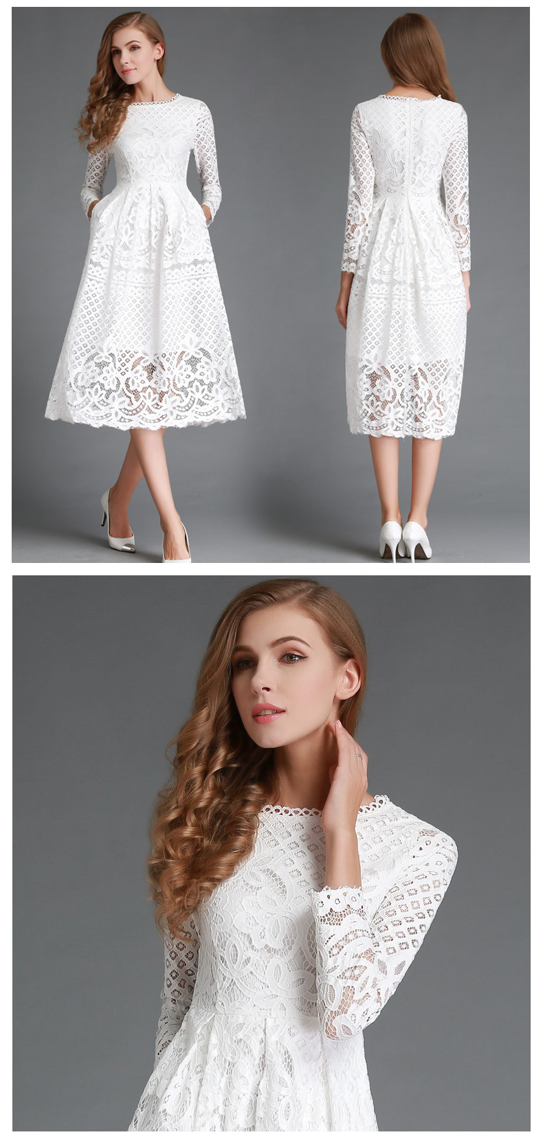 High Quality Hollow out Elegant White Lace Dress Women ...