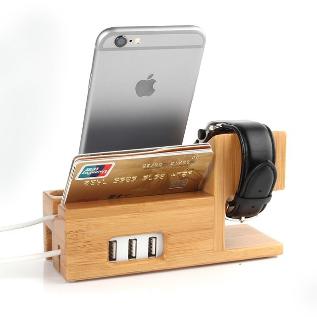 e3431c5b4 ... New Wooden Charger Dock for apple watch apple iwatch Wood Stand Mobile  Holder for iPhone 6