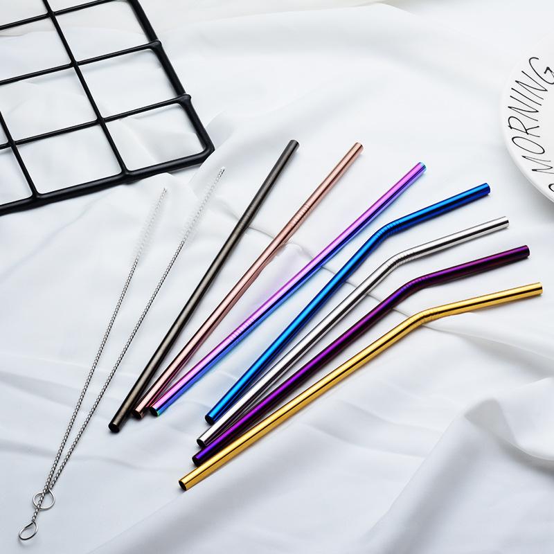 Набор разноцветных трубок из нержавеющей стали, многоразовые трубочки для питья