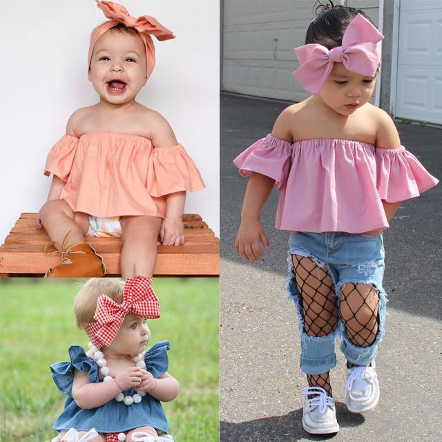013e19cd187b 2019 Kids Baby Girls Off Shoulder T Shirt Tops+Bowknot Headband Set ...