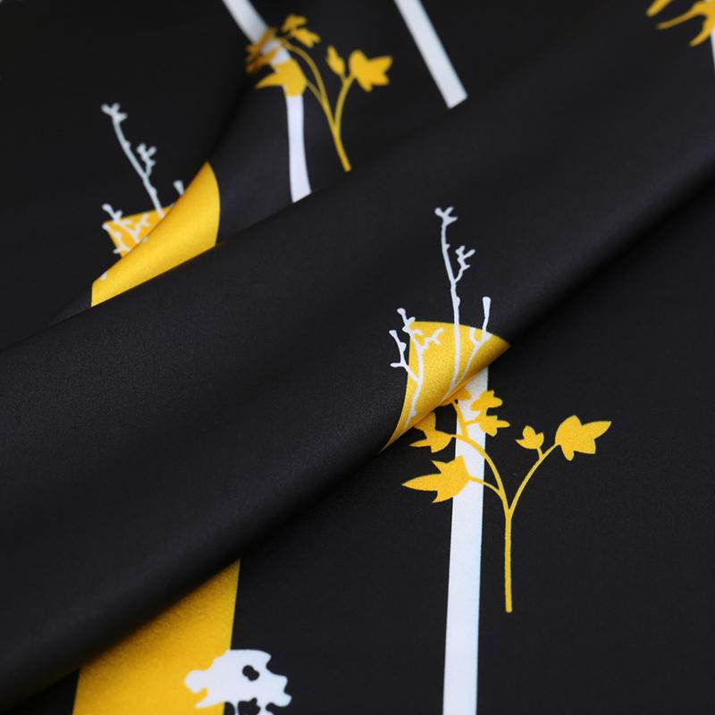 Цветочная цифровая печать шелковая стрейчевая атласная ткань
