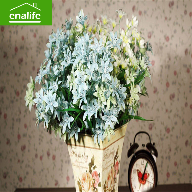 Spring the roadside flower bunch High Quality silk flower Artificial Flowers Fall Vivid Peony Fake Leaf Wedding Home Party