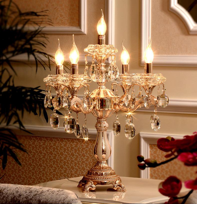 2019 5 Lights Gold Candle Holders Table Lamp Large Wedding Candelabra Restaurant Transpa Crystal Candlestick Led Work Light From Kirke