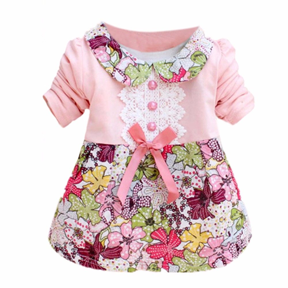 Fashion Toddler Baby Girls Floral Princess Dress Bow One Piece Kids Dress 0 2Y