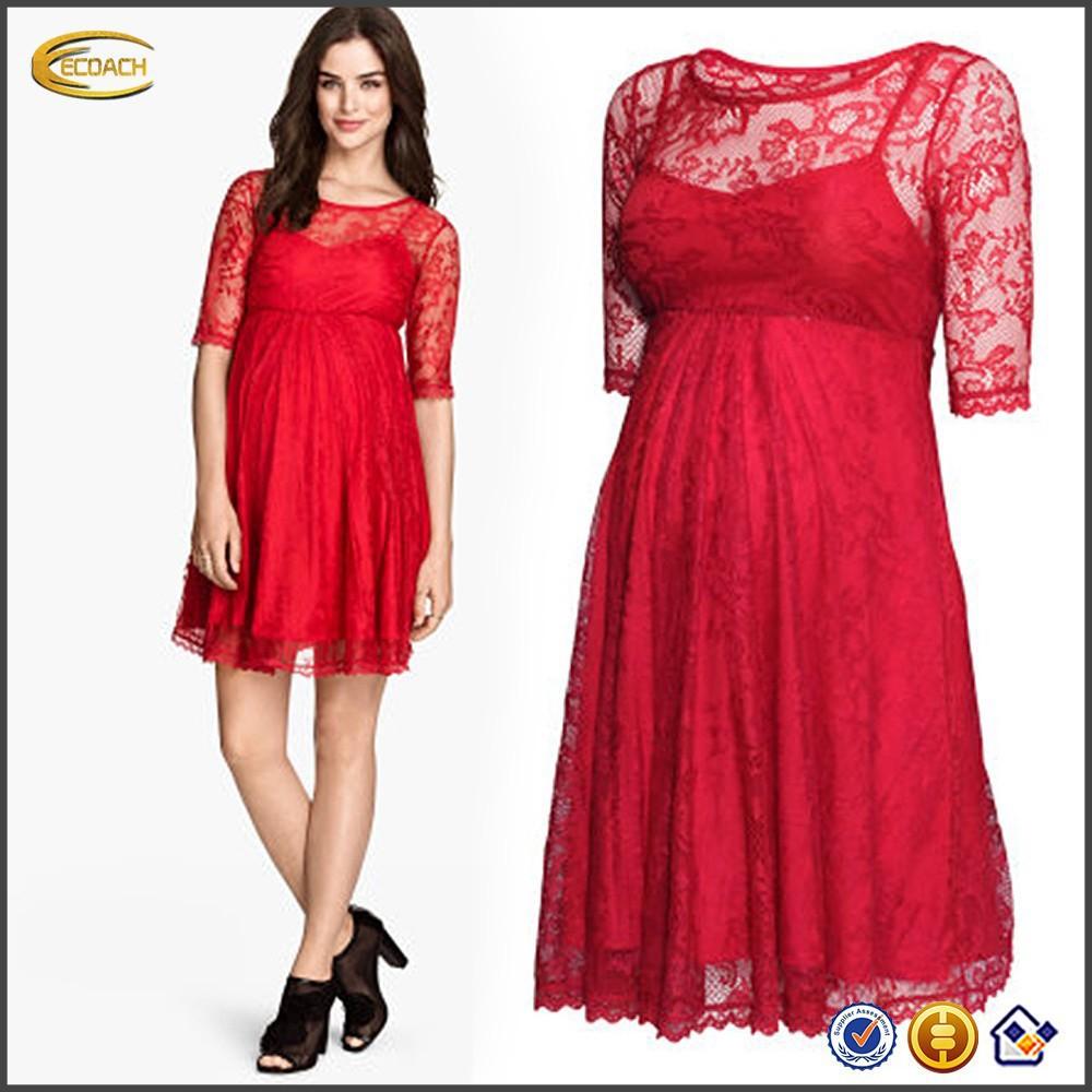 Designer Short Red Lace Women Maternity Dress With Short Sleeve Buy Maternity Dress Women Maternity Dress Short Red Dress Product On Alibaba Com