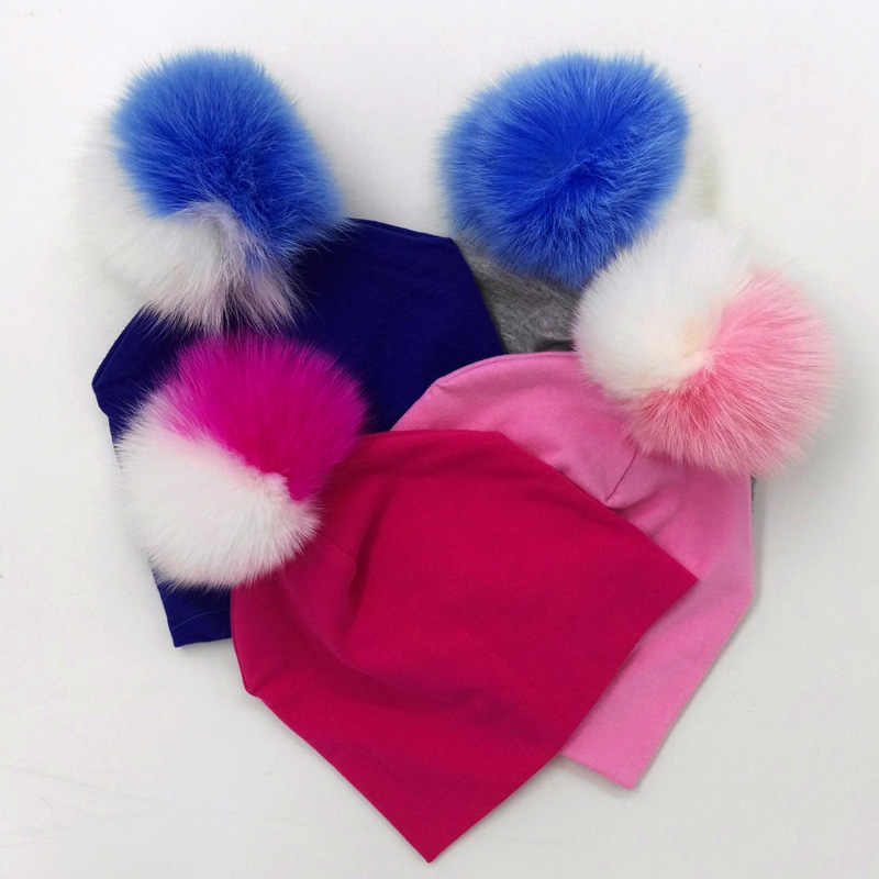GZHilovingL 0-5month Spring INS New Design Cotton Beanie Real Fur Raccoon Fox Fur Pompom For Little Baby Girls Boys Soft Hats