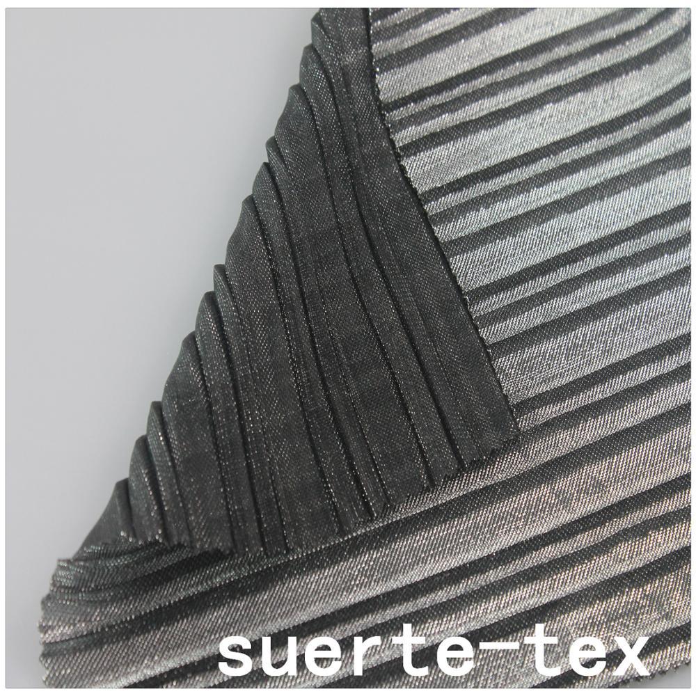 Fashion textile pleated crinkle softshell polyester metallic black lurex fabric