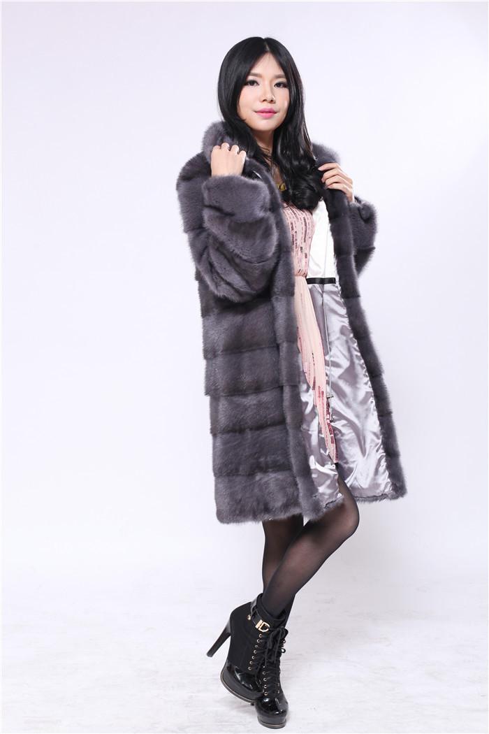 natural fur mink coat woman fur coat mandarin collar full pelt paste dark gray color natural