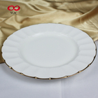 Purchase online Round Dish Dinner Plate ceramic plate with gold rim For Wedding Hotel Restaurant