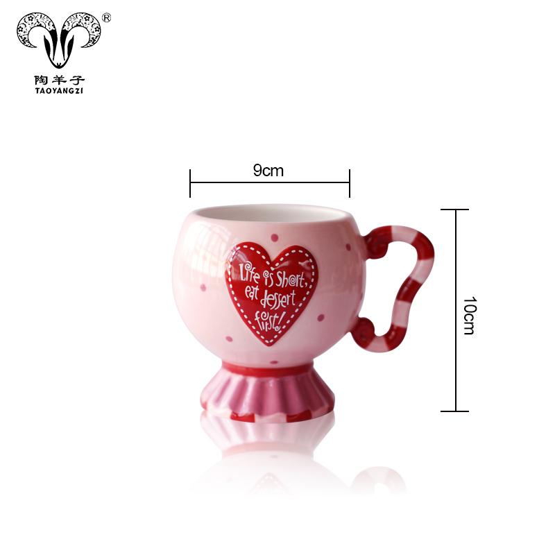 wholesales Ceramic Mug tall Hand-painting Creative girls Coffee Mug Heart shape lovely ceramic cups