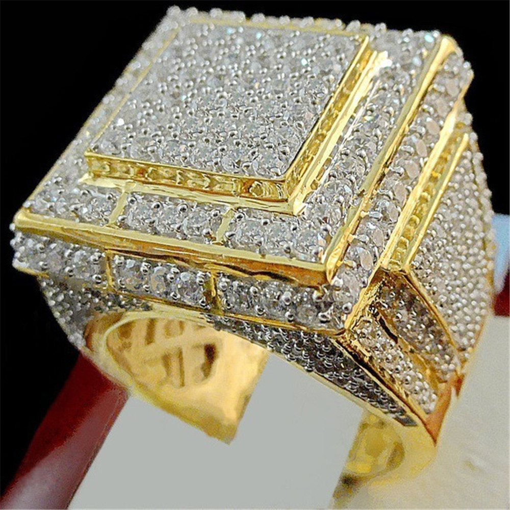 ... Gold Full Rhinestones Men s Finger Signet Ring Hip Hop Shining Iced Out  Zircon Male Rings Anel Anillos Anelli 9127327772 118929627.  9127327772 118929627 6745ac3e9d47