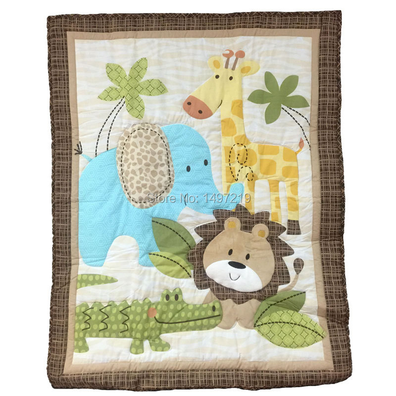 Zoo Animal Pattern Crib Quilts For Baby Boys Embroidery
