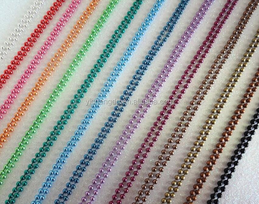 52 ярда Катушка 1,5 мм цветная металлическая шариковая цепь НЕОБРАБОТАННАЯ Массовая для ожерелья