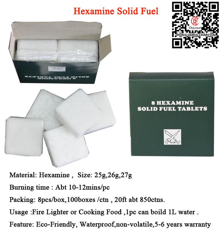 HQS-025 Hongqiang White firestarter solid fuel hexamine for outdoor