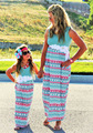 summer mother daughter clothes family look matching mother daughter dresses cotton sleeveless maxi family matching clothes