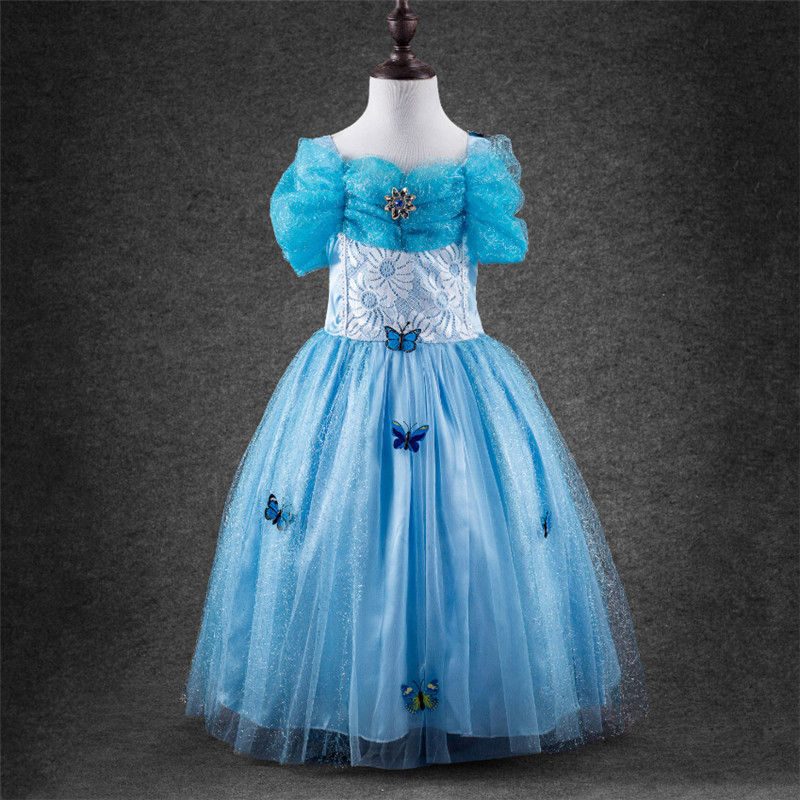 2015 new style movies cinderella princess font b dresses b font for kids nice blue princess