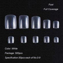 Накладные акриловые ногти, 500 шт., прозрачные, натуральные, белые, для наращивания ногтей, для самостоятельного маникюра, искусственные ногт...(Китай)
