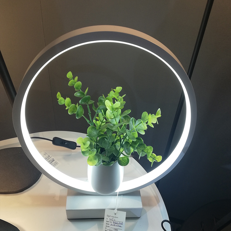 Modern Gift Home Deco Bedside Hall Round Desk Lampara Plant Accessory White Circle Led Table Lamps