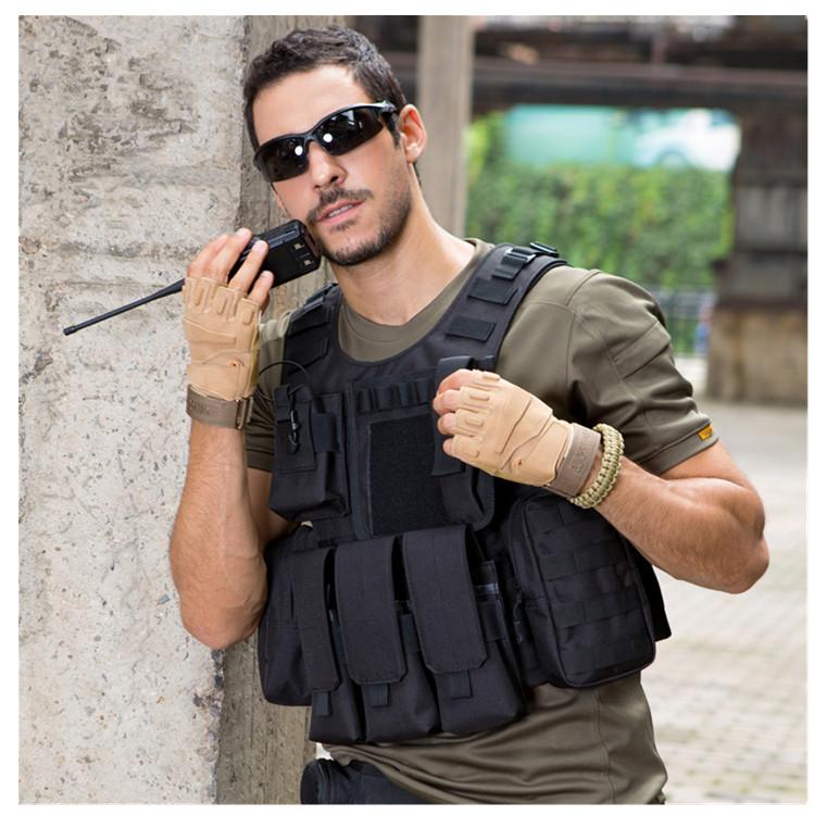 Черный военный тактический армейский Жилет Molle для тренировок на открытом воздухе и охоты