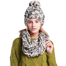 Charme Tricot D hiver Chaud Chapeau et Écharpe Ensemble Pour Les Femmes  Fille Bonnets Épaisse Femelle Bonnet Écharpe Ensemble Fe. a9cbf85699e