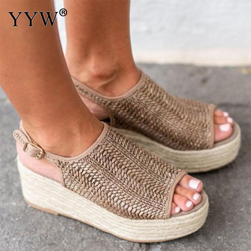 Henna Women Comfy Flats Wedges Platform Sandal Open Toe Ankle Beach Shoes Office Slippers Sandals